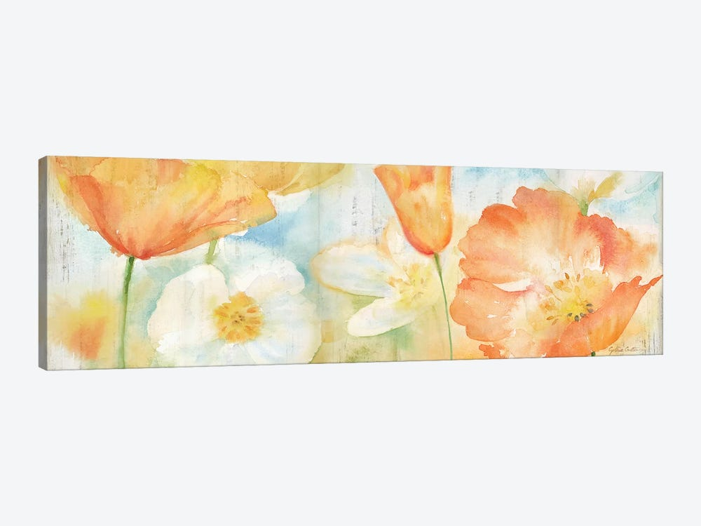 Poppy Meadow Pastel Woodgrain Panel by Cynthia Coulter 1-piece Canvas Art