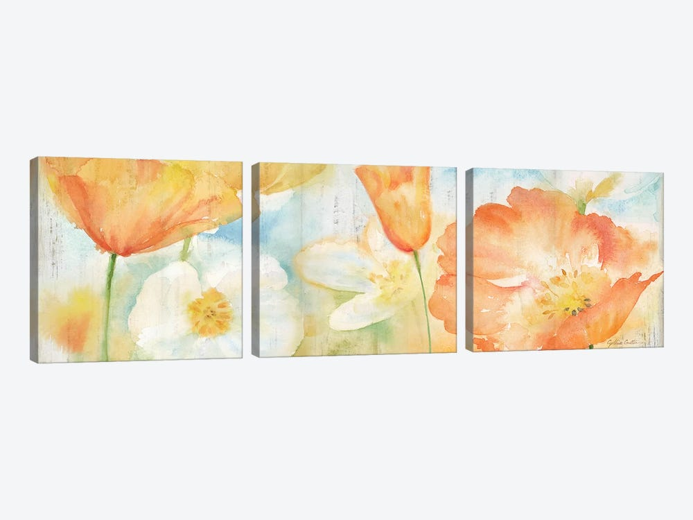 Poppy Meadow Pastel Woodgrain Panel by Cynthia Coulter 3-piece Canvas Artwork
