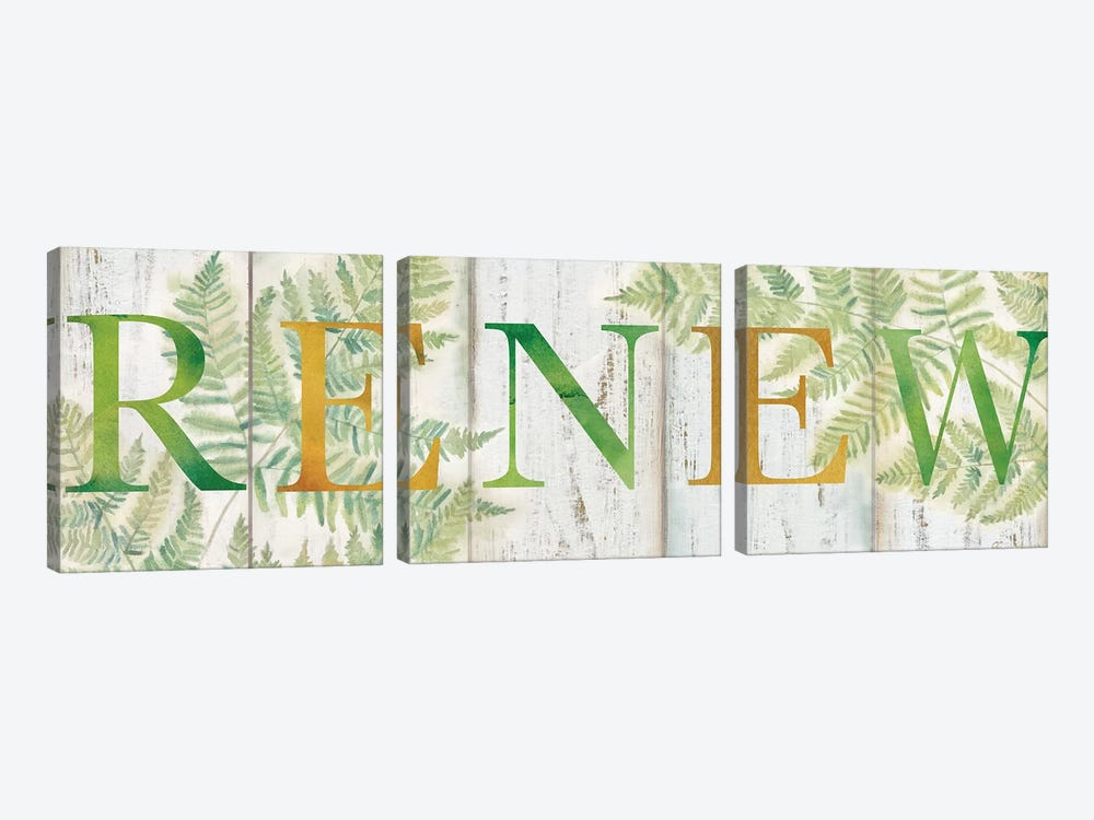 Renew Rustic Botanical Sign by Cynthia Coulter 3-piece Canvas Art Print
