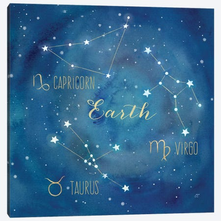 Star Sign Earth 3-Piece Canvas #CYN81} by Cynthia Coulter Canvas Artwork