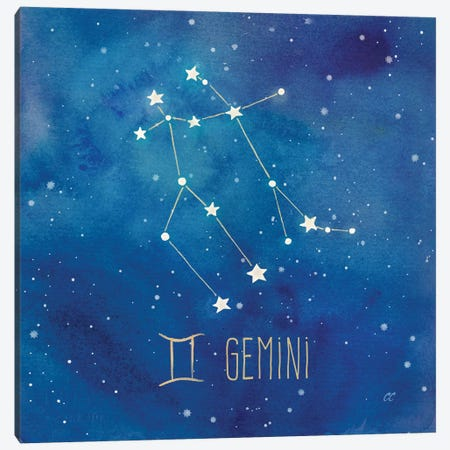 Star Sign Gemini Canvas Print #CYN83} by Cynthia Coulter Canvas Art