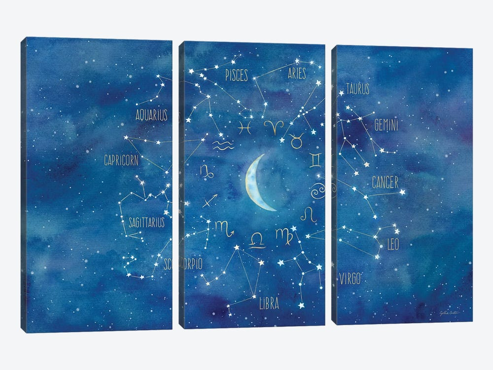 Star Sign With Moon Landscape by Cynthia Coulter 3-piece Art Print