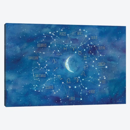 Star Sign With Moon Landscape 3-Piece Canvas #CYN93} by Cynthia Coulter Art Print