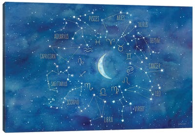 Star Sign With Moon Landscape Canvas Art Print