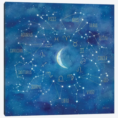 Star Sign With Moon Square Canvas Print #CYN94} by Cynthia Coulter Canvas Wall Art
