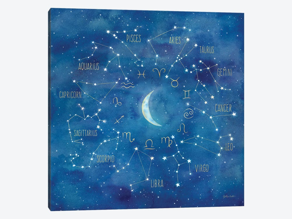 Star Sign With Moon Square by Cynthia Coulter 1-piece Canvas Wall Art