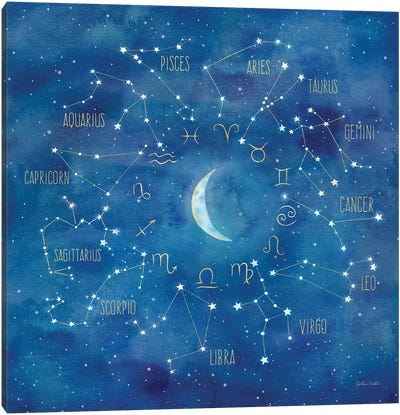 Star Sign With Moon Square Canvas Art Print