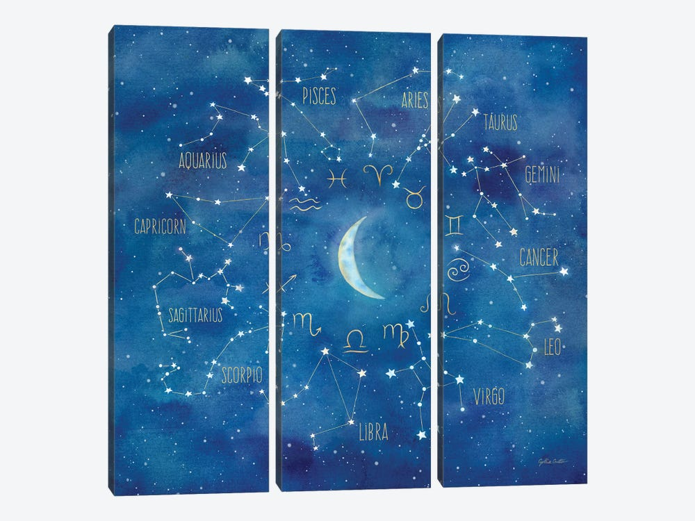 Star Sign With Moon Square by Cynthia Coulter 3-piece Canvas Artwork