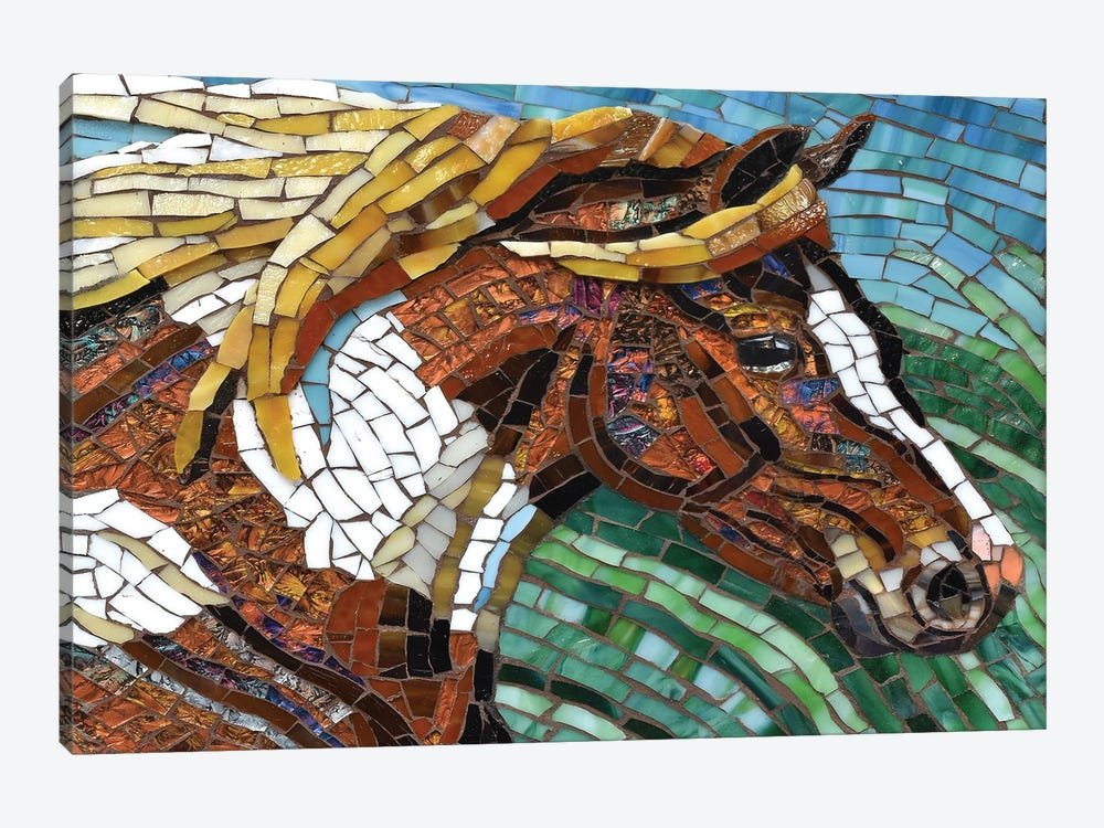 Horse Glass Mosaic by Cynthie Fisher 1-piece Canvas Print