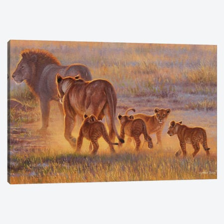 Lion And Cubs Canvas Print #CYT123} by Cynthie Fisher Art Print