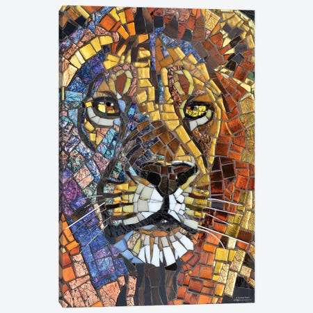 Lion Glass Mosaic Canvas Print #CYT124} by Cynthie Fisher Canvas Wall Art
