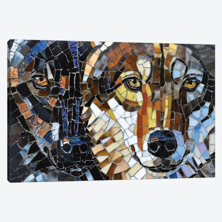 Wolf Glass Mosaic Canvas Print #CYT210} by Cynthie Fisher Canvas Print