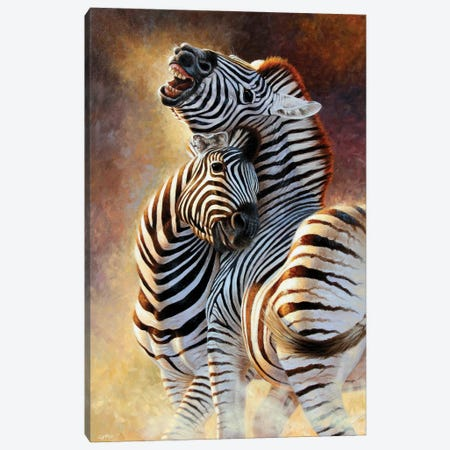 Zebra Courtship Canvas Print #CYT222} by Cynthie Fisher Canvas Wall Art