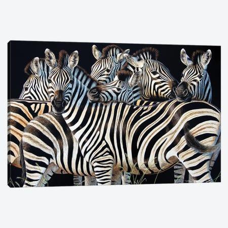 Zebra Huddle Canvas Print #CYT224} by Cynthie Fisher Canvas Art Print