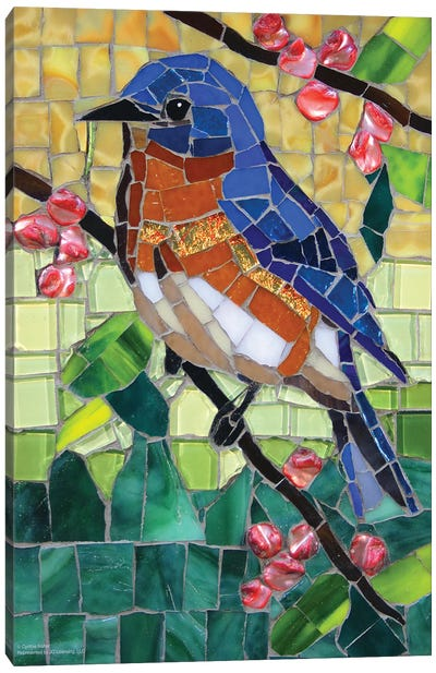 Bluebird Glass Mosaic Canvas Art Print