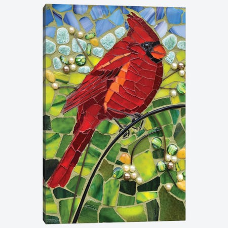 Cardinal Glass Mosaic Canvas Print #CYT36} by Cynthie Fisher Canvas Wall Art