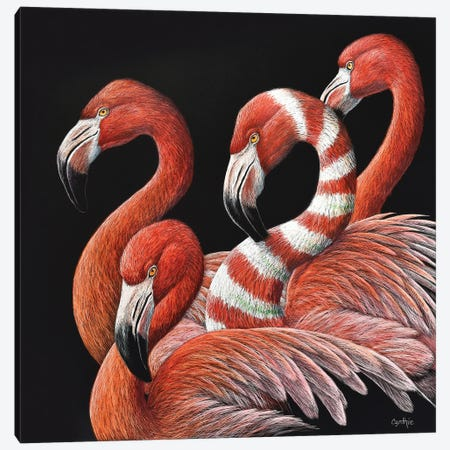 Flamingos Scratch Canvas Print #CYT69} by Cynthie Fisher Canvas Artwork