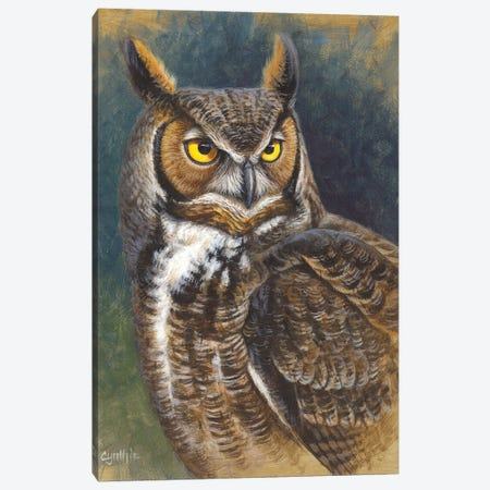 Great Horned Owl Canvas Print #CYT84} by Cynthie Fisher Art Print