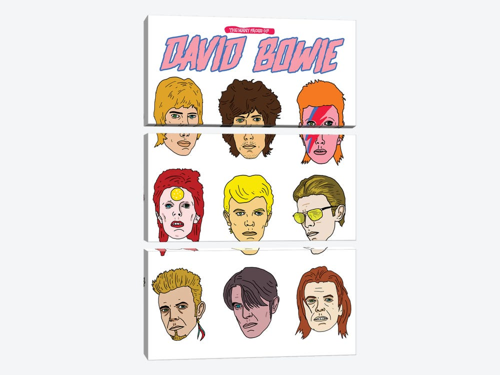 Faces Of Bowie by Nick Cocozza 3-piece Canvas Art Print