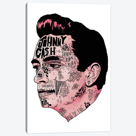 Johnny Cash Canvas Print #CZA23} by Nick Cocozza Canvas Art Print
