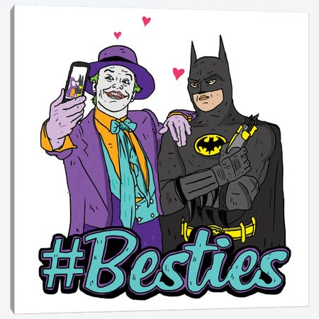 Joker & Batman Besties Canvas Print #CZA24} by Nick Cocozza Canvas Artwork