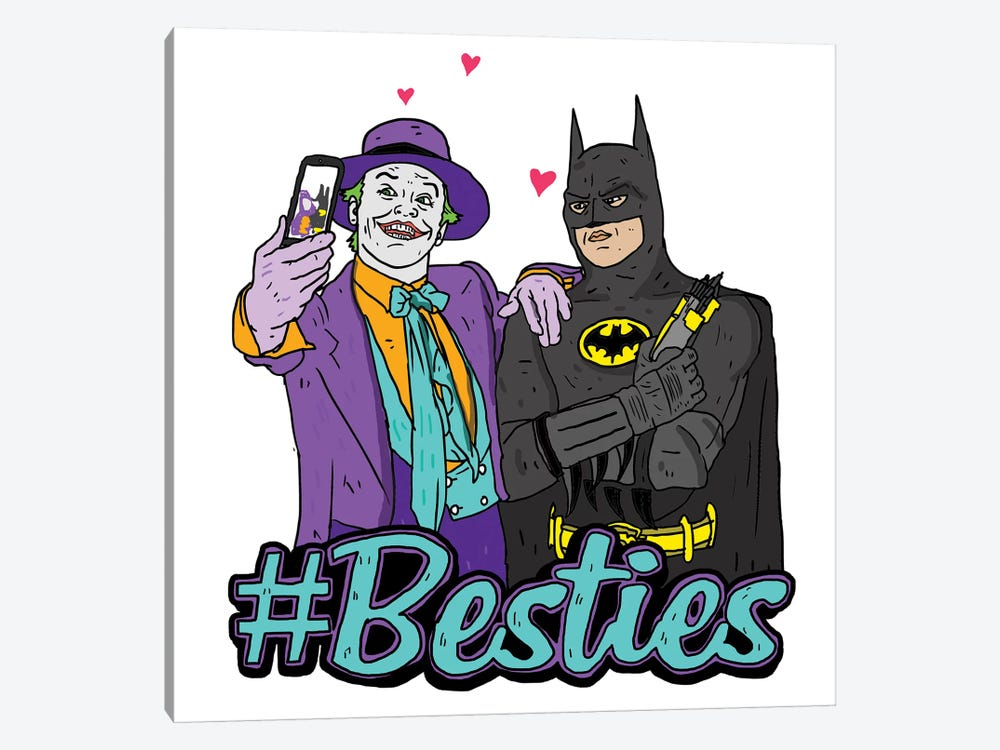 Joker & Batman Besties by Nick Cocozza 1-piece Canvas Art Print