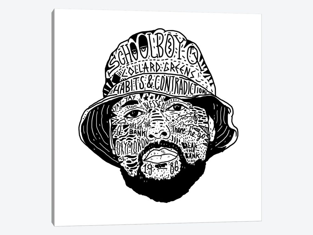 Schoolboy Q by Nick Cocozza 1-piece Art Print