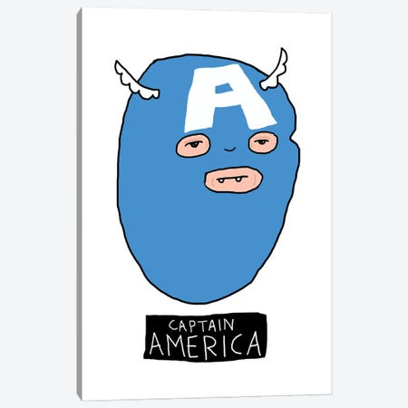 Captain America Canvas Print #CZA84} by Nick Cocozza Canvas Wall Art