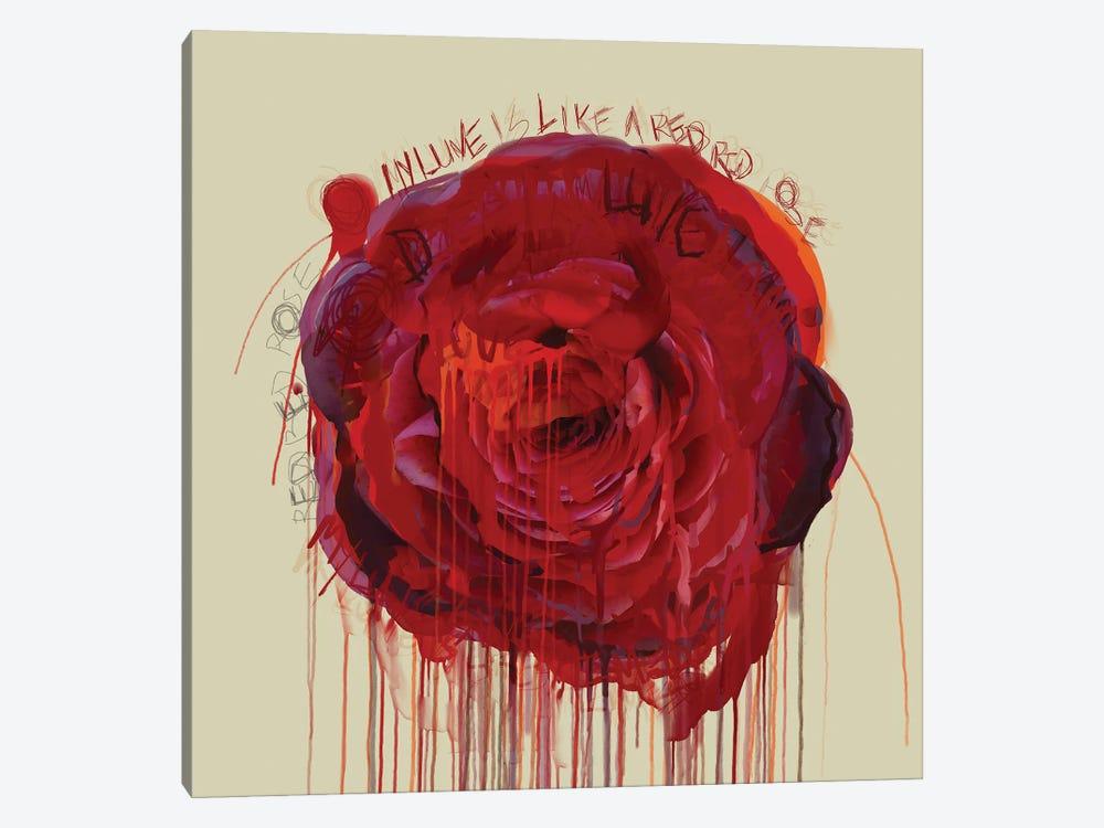 Red Red Rose by Czar Catstick 1-piece Canvas Art