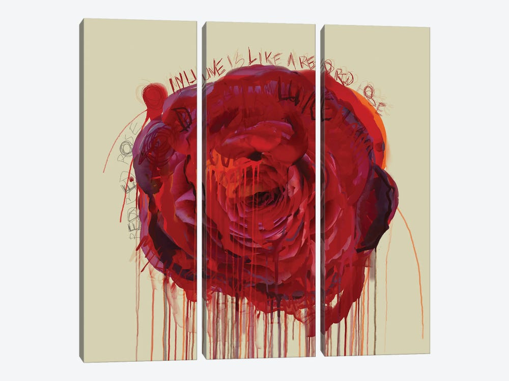 Red Red Rose by Czar Catstick 3-piece Canvas Wall Art
