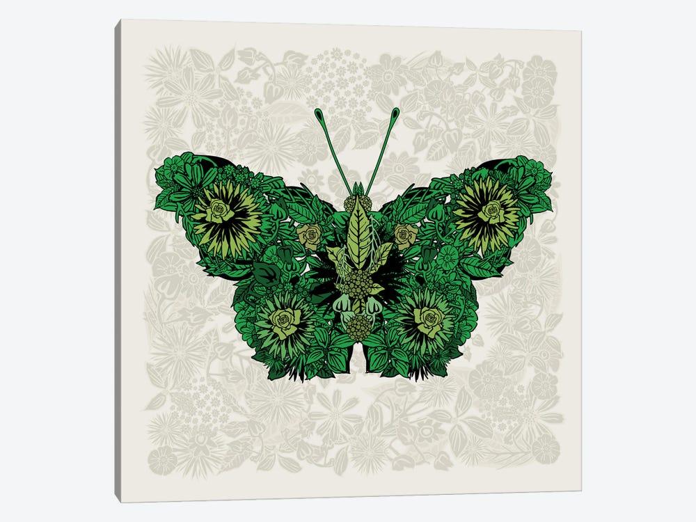 Butterfly Green by Czar Catstick 1-piece Canvas Wall Art