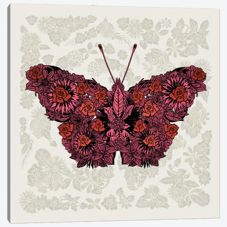 Butterfly Red Canvas Print #CZC127} by Czar Catstick Canvas Art