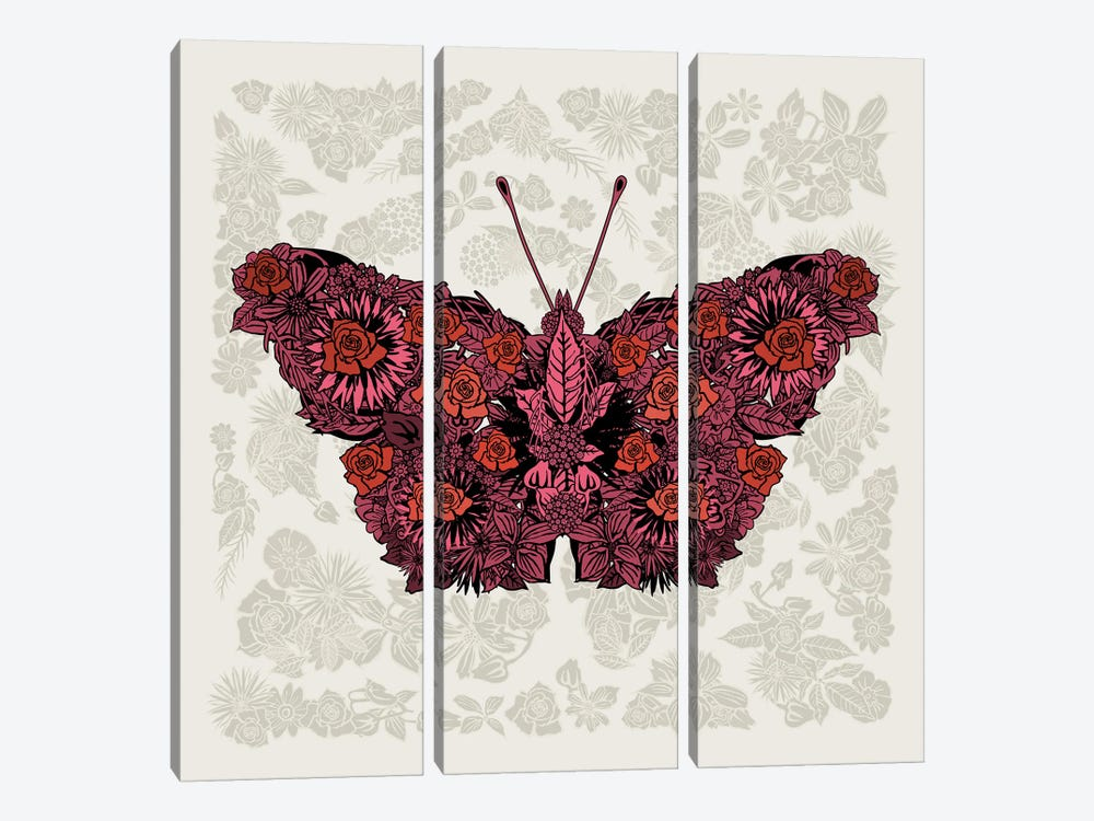 Butterfly Red by Czar Catstick 3-piece Canvas Print