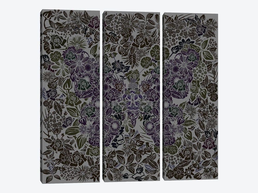Butterfly Gray Gardens by Czar Catstick 3-piece Canvas Print