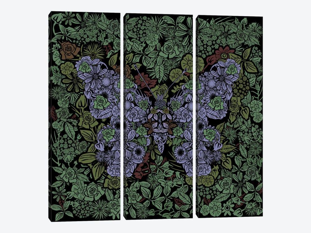 Butterfly Green Gardens by Czar Catstick 3-piece Canvas Wall Art