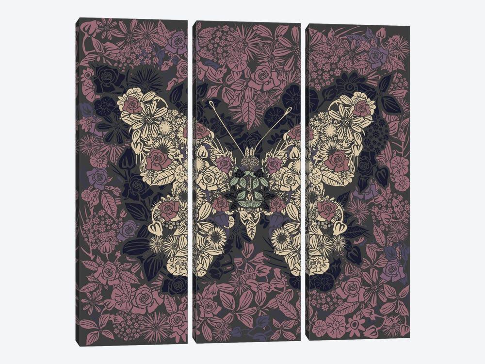 Butterfly New Gardens by Czar Catstick 3-piece Canvas Print