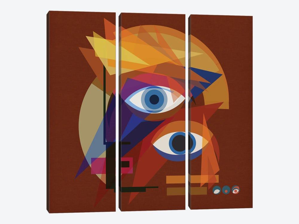 Bauhaus Bowie - Red by Czar Catstick 3-piece Canvas Art Print