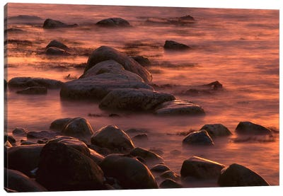 Morning Sun Reflecting In Rocky Water, Jasmund National Park, Ruegen, Germany Canvas Art Print