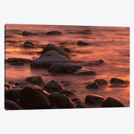 Morning Sun Reflecting In Rocky Water, Jasmund National Park, Ruegen, Germany Canvas Print #CZI8} by Christian Ziegler Canvas Art
