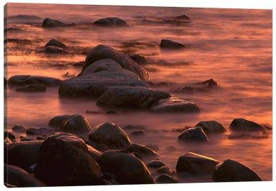 Morning Sun Reflecting In Rocky Water, Jasmund National Park, Ruegen, Germany Canvas Art Print