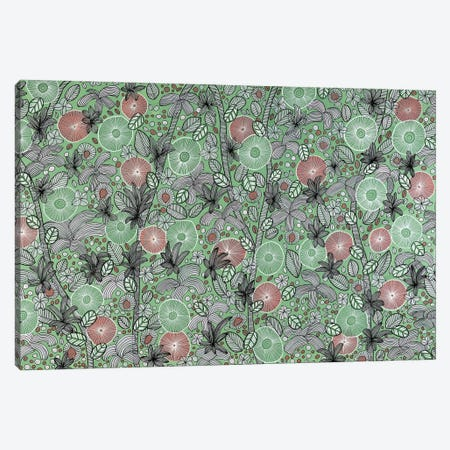 Pink, Green And White Blooms Canvas Print #CZS50} by Carol Zsolt Canvas Wall Art