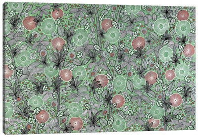 Pink, Green And White Blooms Canvas Art Print