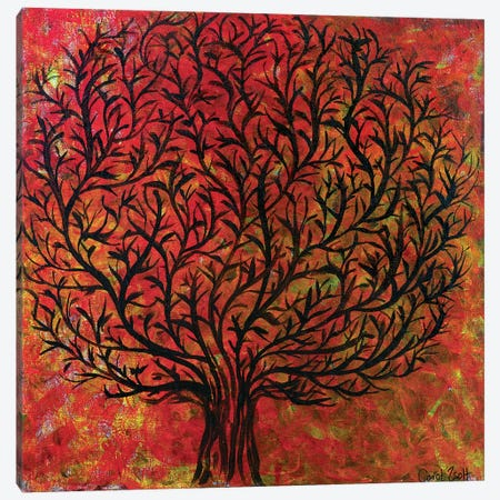 Abstract Tree Orange Canvas Print #CZS57} by Carol Zsolt Art Print