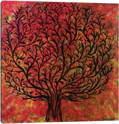 Abstract Tree Orange Canvas Art Print
