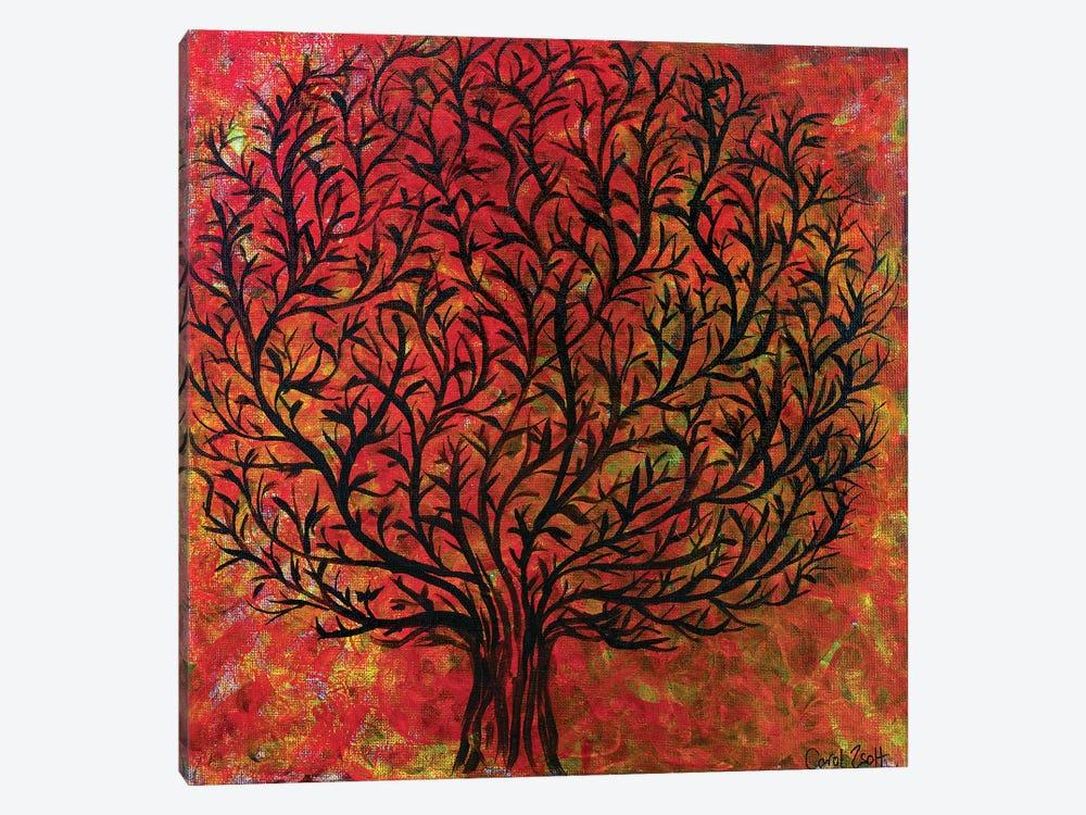 Abstract Tree Orange by Carol Zsolt 1-piece Canvas Art Print