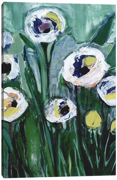 Modern White Floral V Canvas Art Print