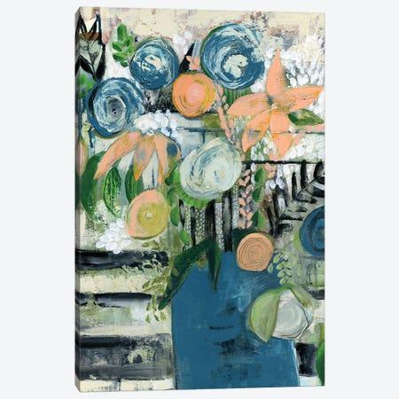 Modern Floral Stripe Canvas Print #DAA19} by Tara Daavettila Canvas Art