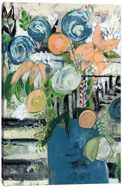 Modern Floral Stripe Canvas Art Print