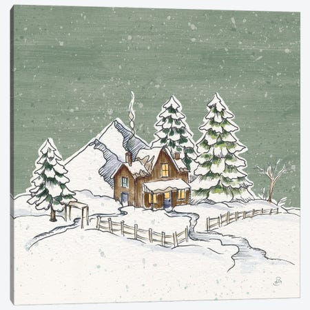 Holiday Toile Cabin Neutral Crop Canvas Print #DAB138} by Daphne Brissonnet Canvas Artwork