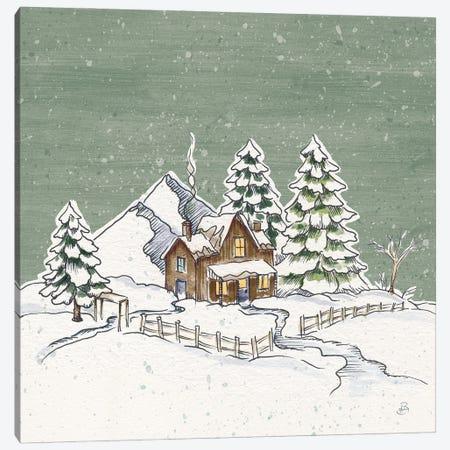 Holiday Toile Cabin Neutral Crop Canvas Print #DAB138} by Daphne Brissonnet Canvas Artwork